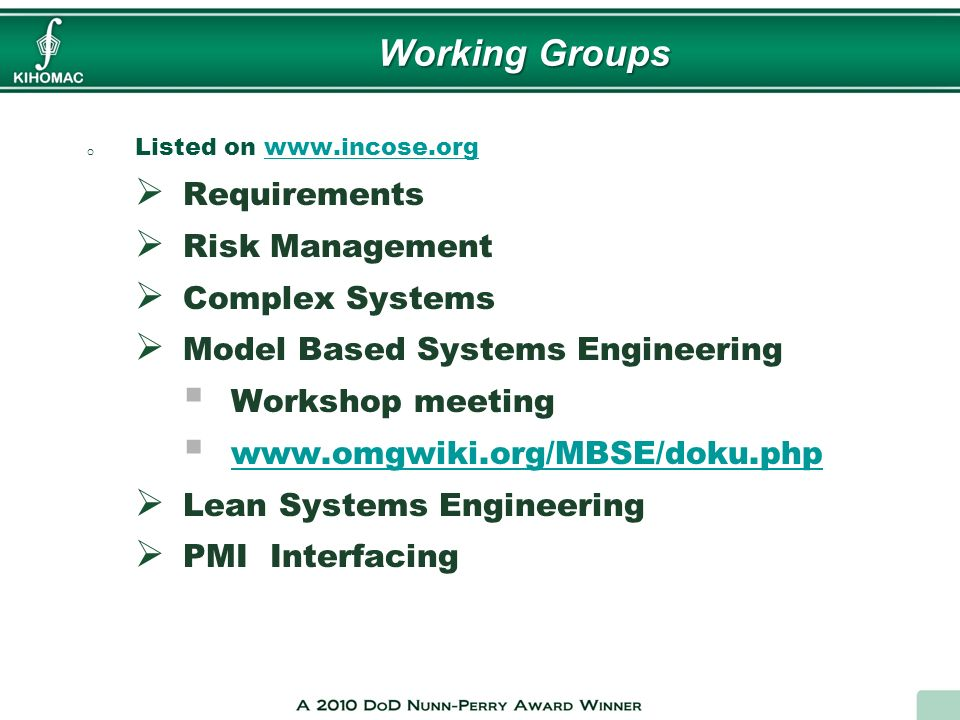 Working Groups Requirements Risk Management Complex Systems