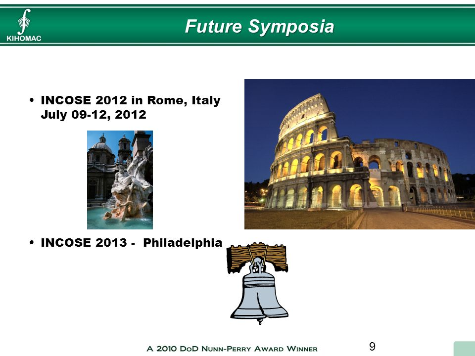 Future Symposia INCOSE 2012 in Rome, Italy July 09-12, 2012