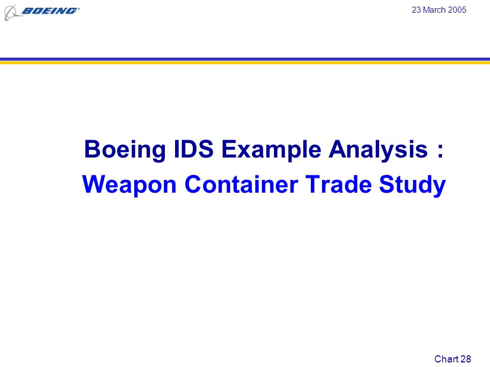 Boeing IDS Example Analysis : Weapon Container Trade Study