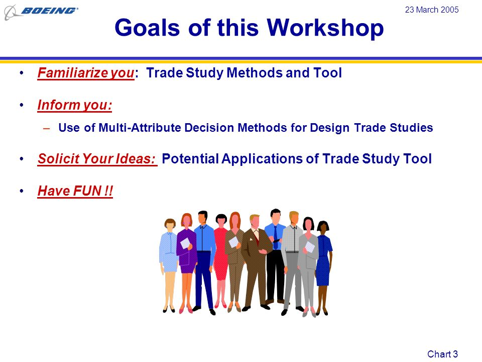 Goals of this Workshop Familiarize you: Trade Study Methods and Tool