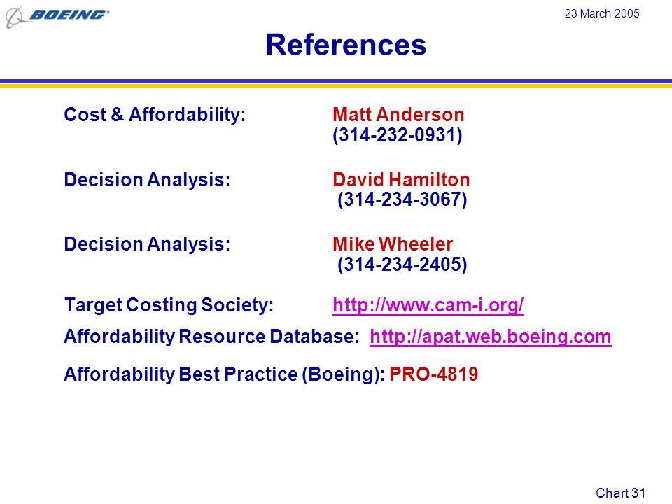 References Cost & Affordability: Matt Anderson (314-232-0931)