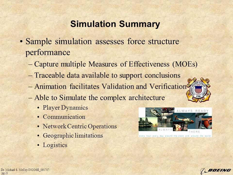 Sample simulation assesses force structure performance