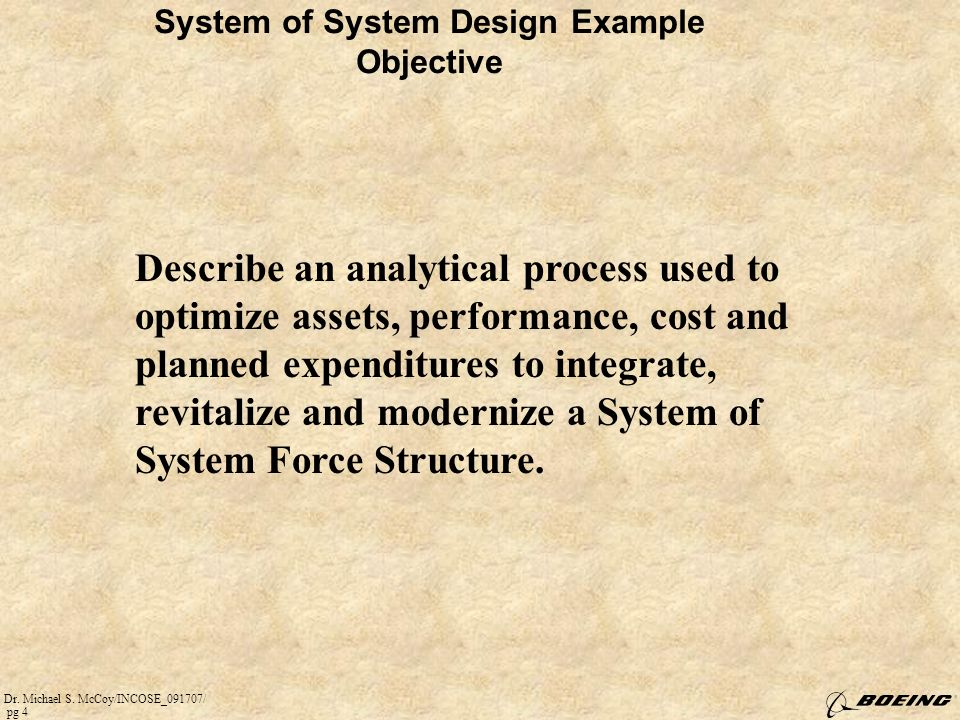 System of System Design Example Objective