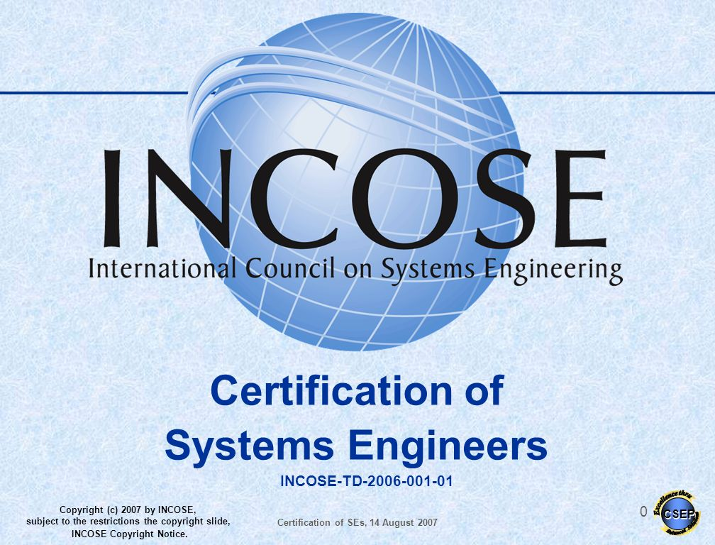 Certification of SEs, 14 August 2007