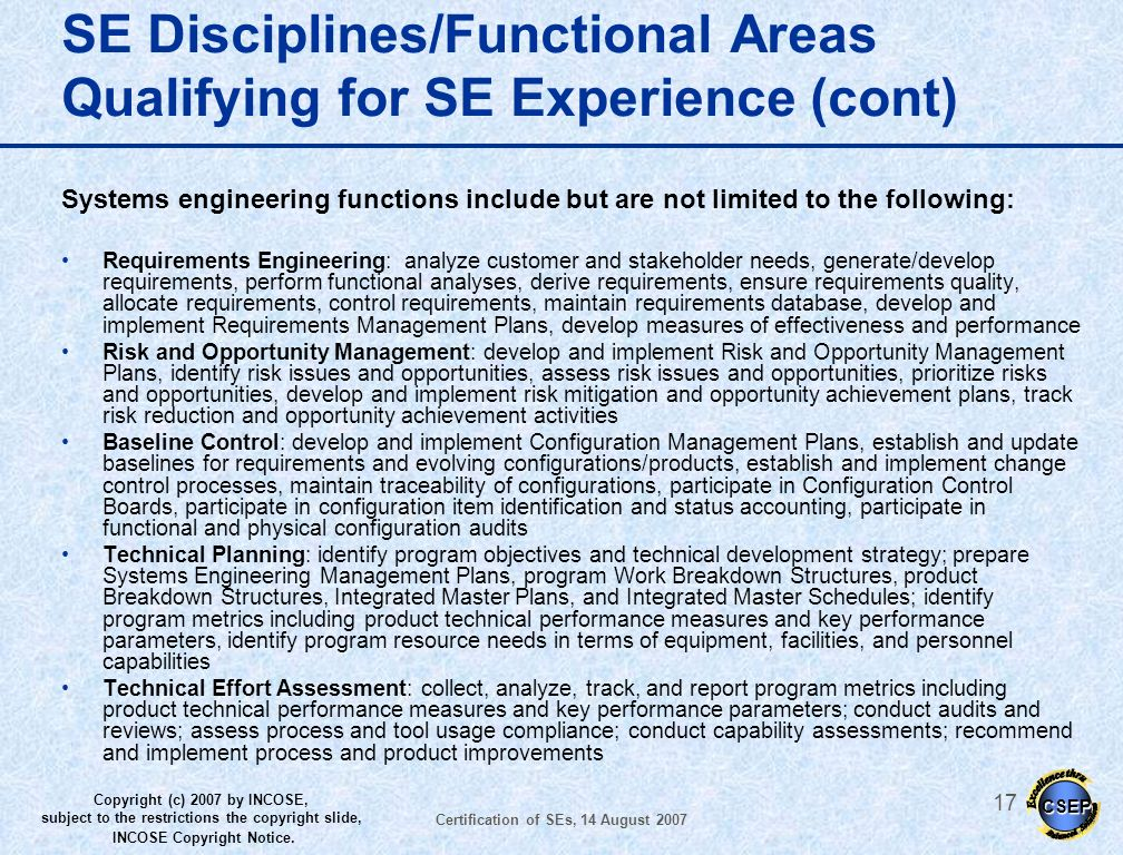 SE Disciplines/Functional Areas Qualifying for SE Experience (cont)