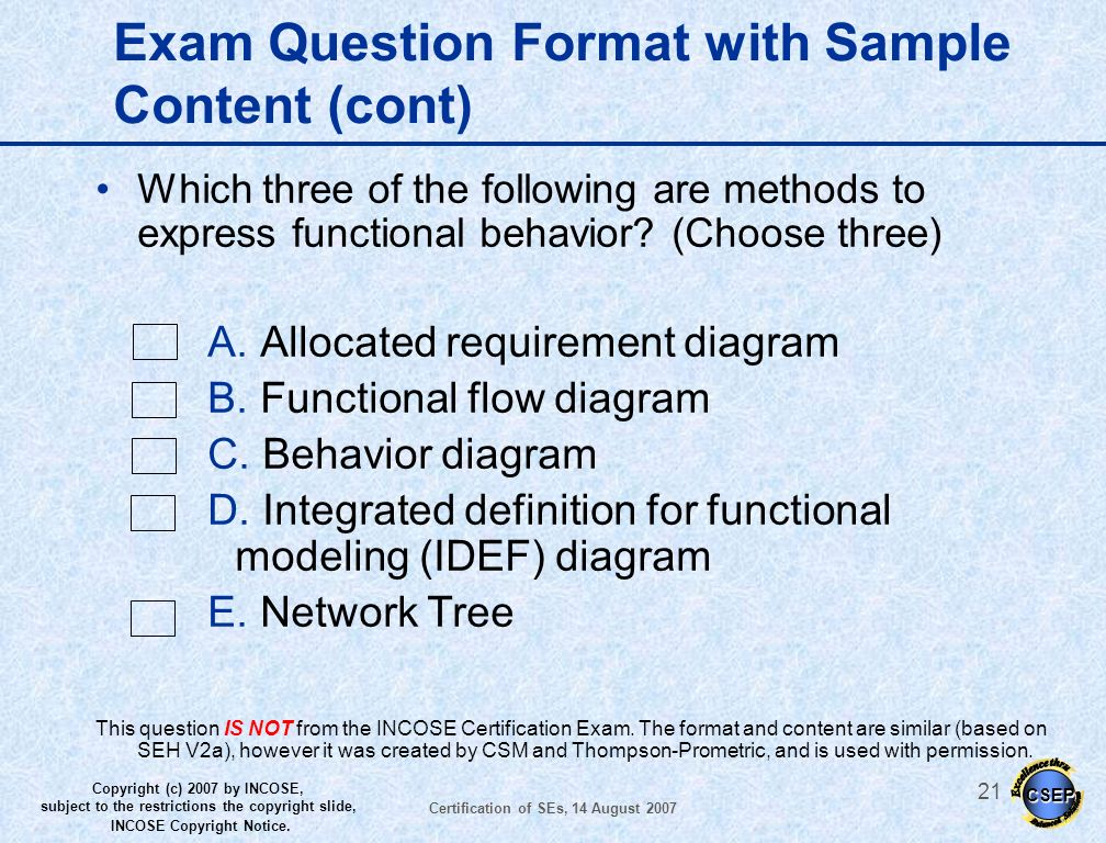 Exam Question Format with Sample Content (cont)