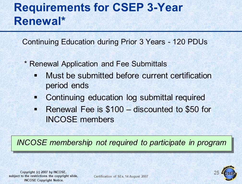 Requirements for CSEP 3-Year Renewal*