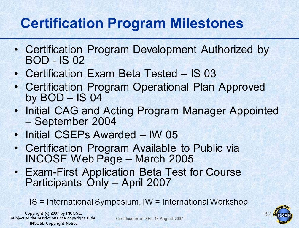 Certification Program Milestones