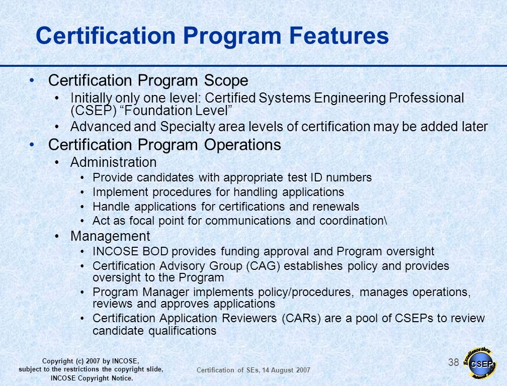 Certification Program Features