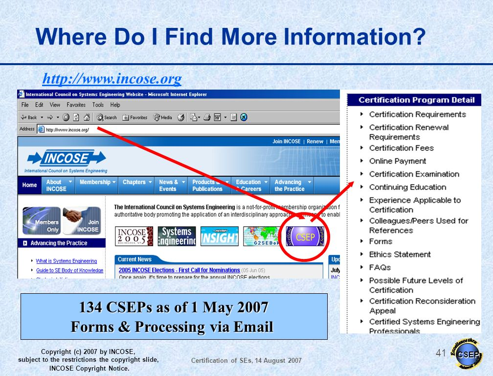 Forms & Processing via Email Certification of SEs, 14 August 2007