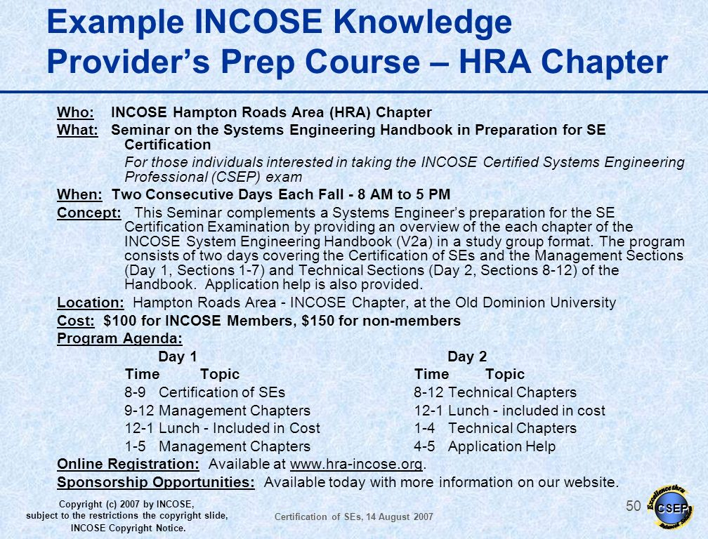 Example INCOSE Knowledge Provider's Prep Course – HRA Chapter