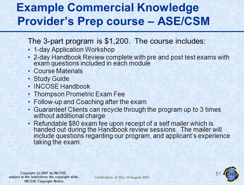 Example Commercial Knowledge Provider's Prep course – ASE/CSM