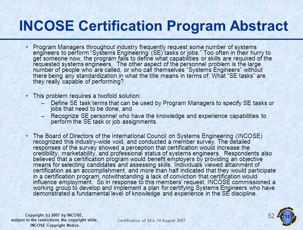 INCOSE Certification Program Abstract