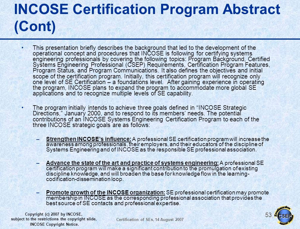 INCOSE Certification Program Abstract (Cont)