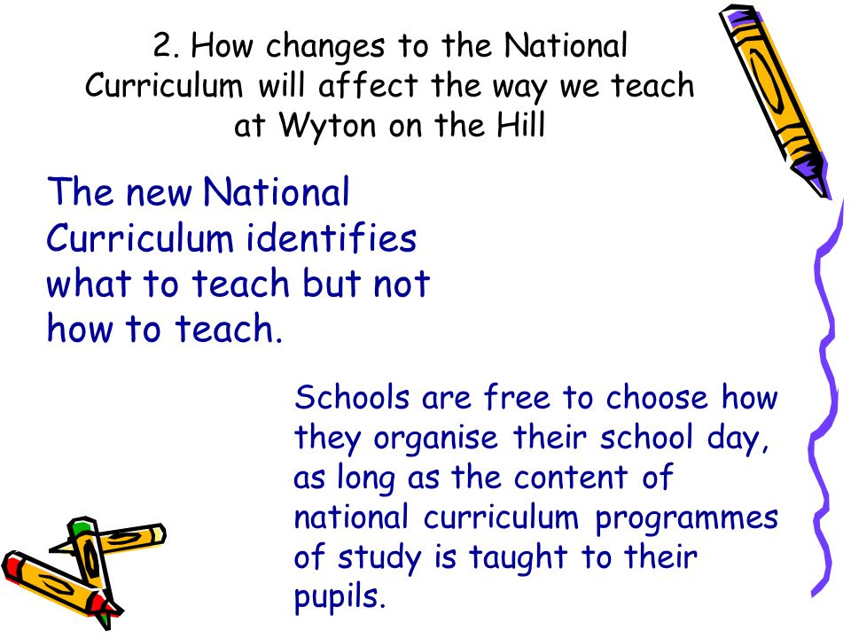 2. How changes to the National Curriculum will affect the way we teach at Wyton on the Hill