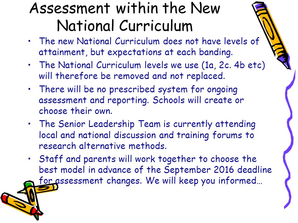 Assessment within the New National Curriculum