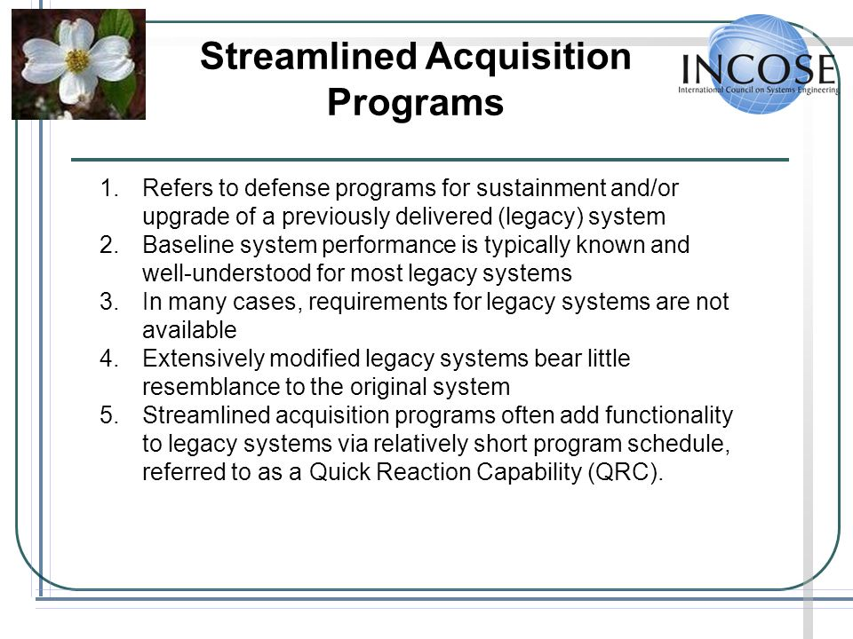Streamlined Acquisition Programs