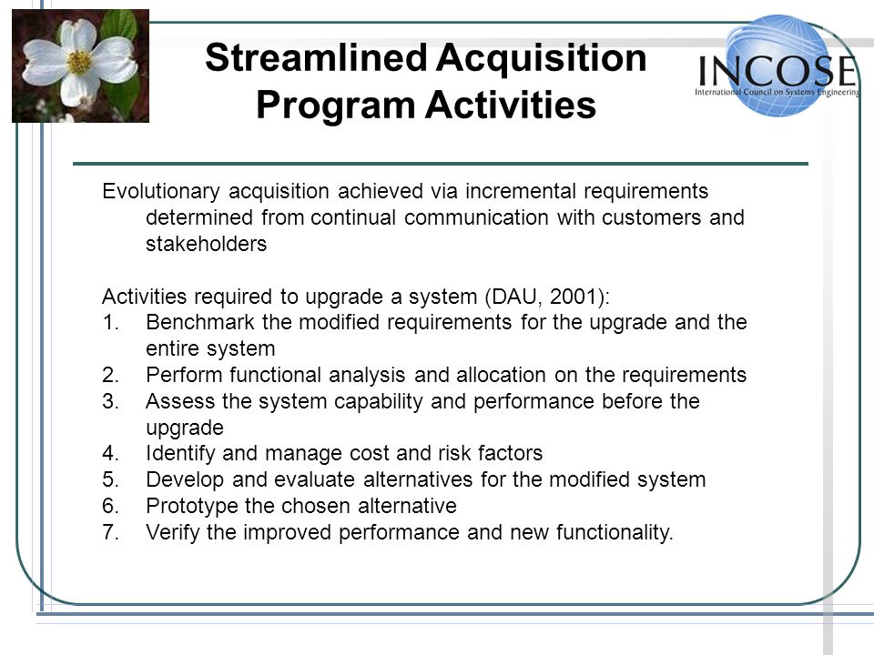 Streamlined Acquisition Program Activities
