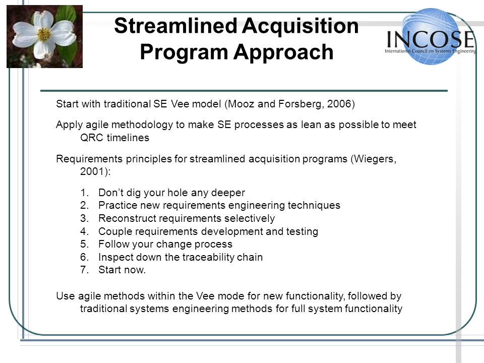 Streamlined Acquisition Program Approach