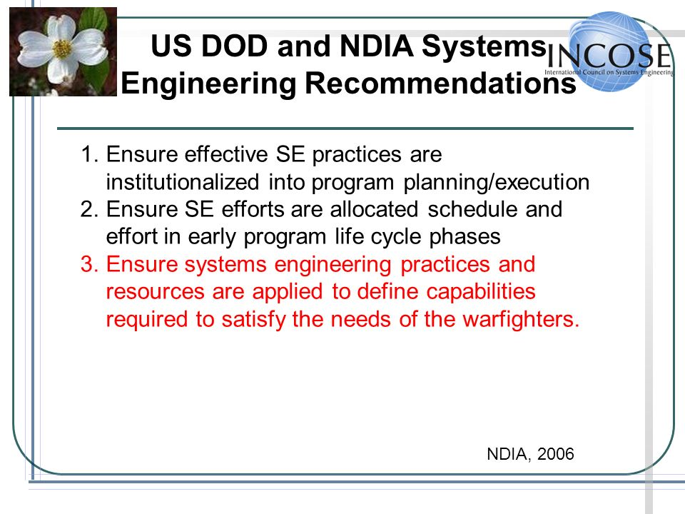 US DOD and NDIA Systems Engineering Recommendations