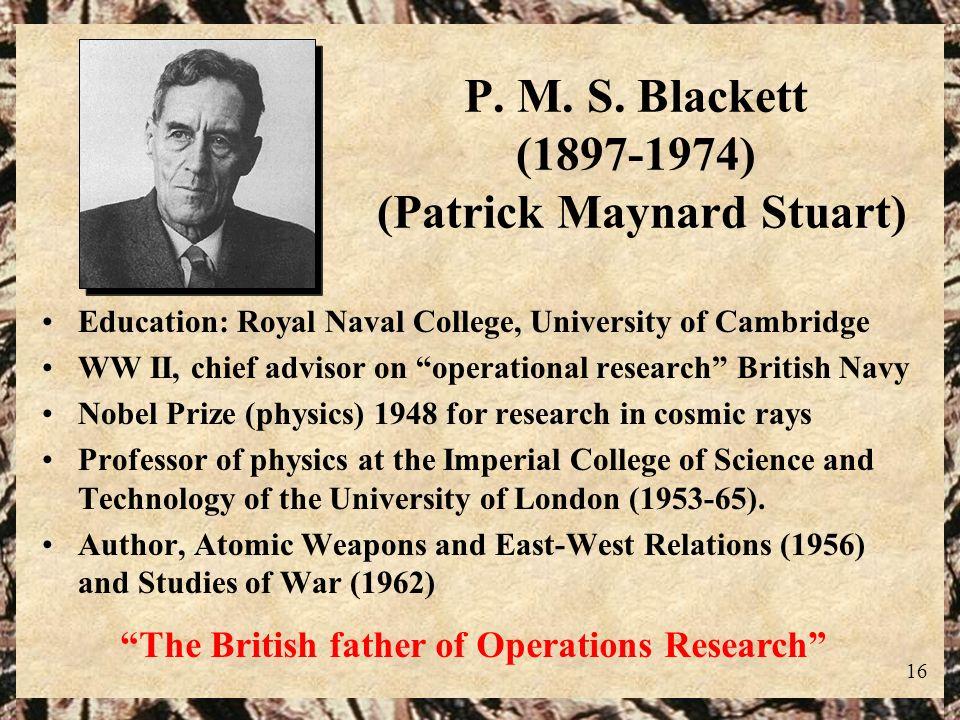 P. M. S. Blackett (1897-1974) (Patrick Maynard Stuart)