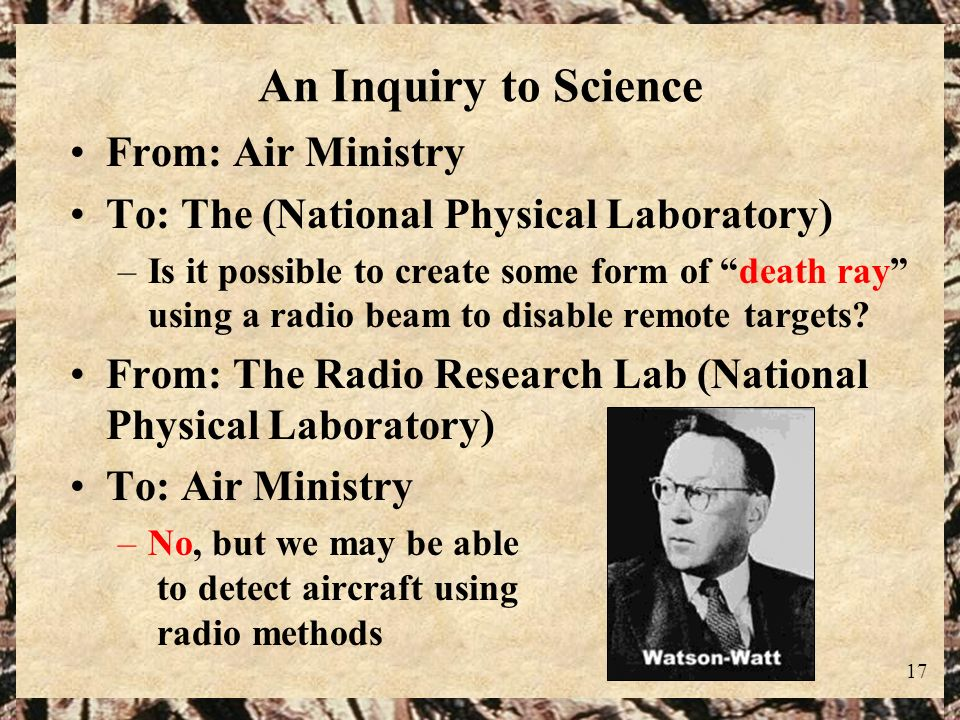 An Inquiry to Science From: Air Ministry