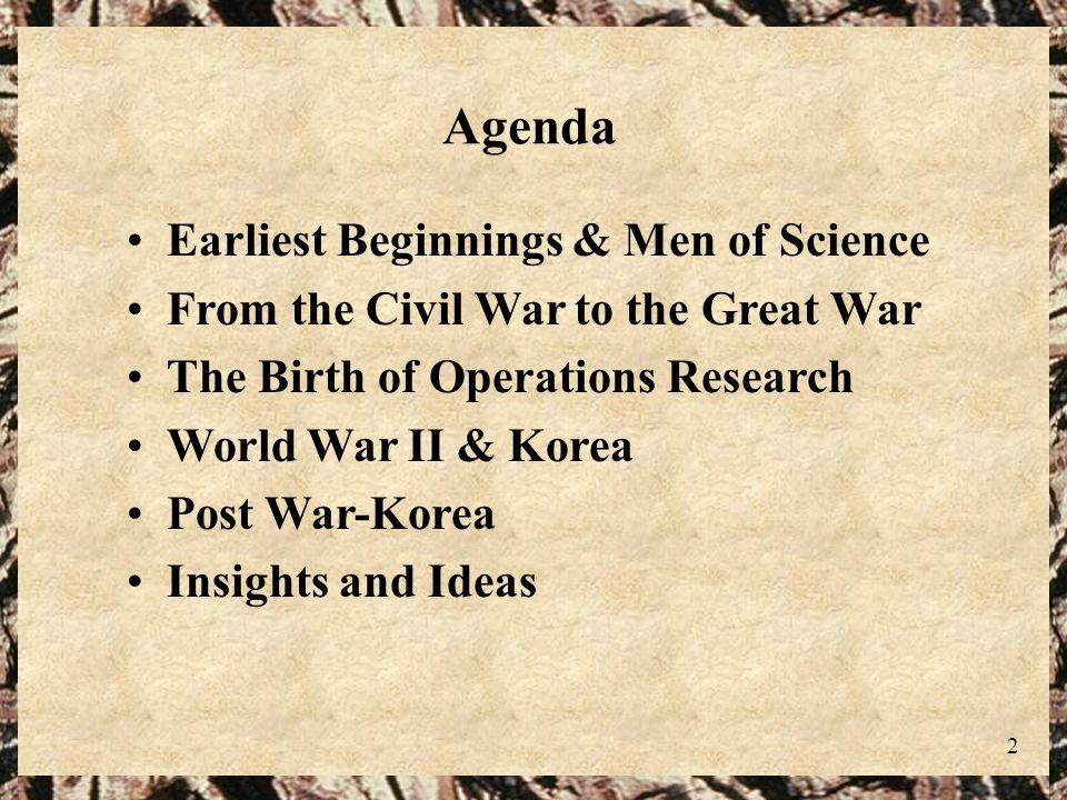 Agenda Earliest Beginnings & Men of Science