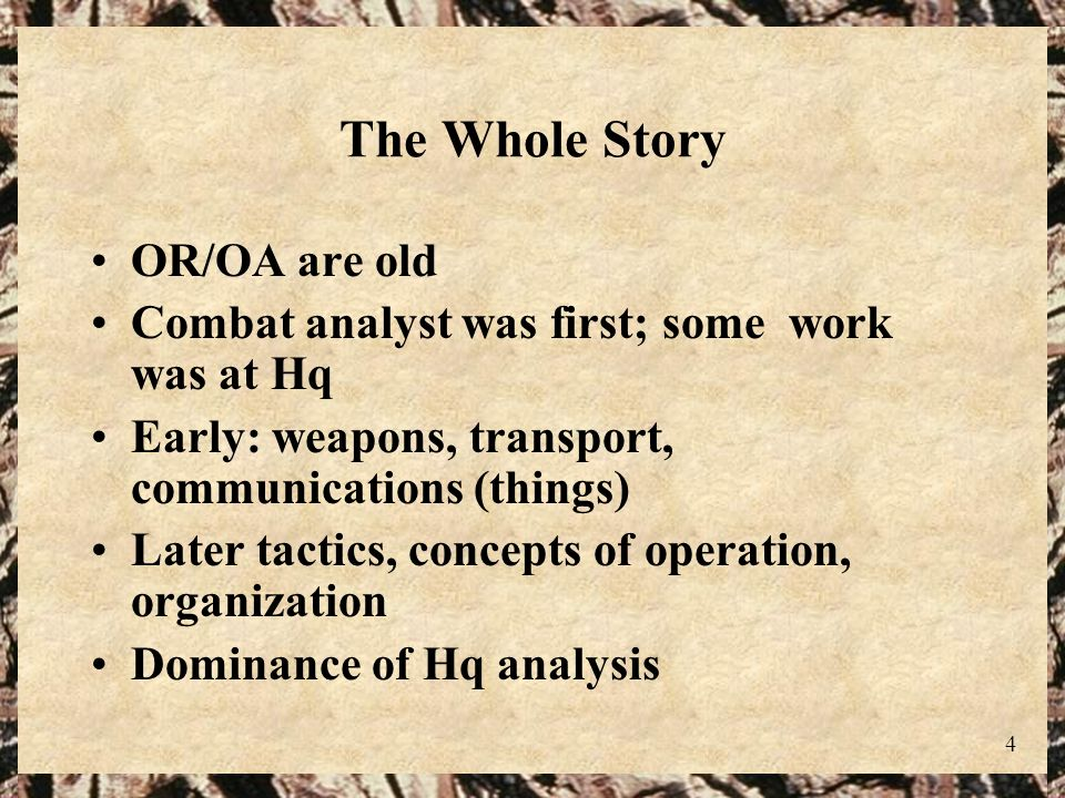 The Whole Story OR/OA are old