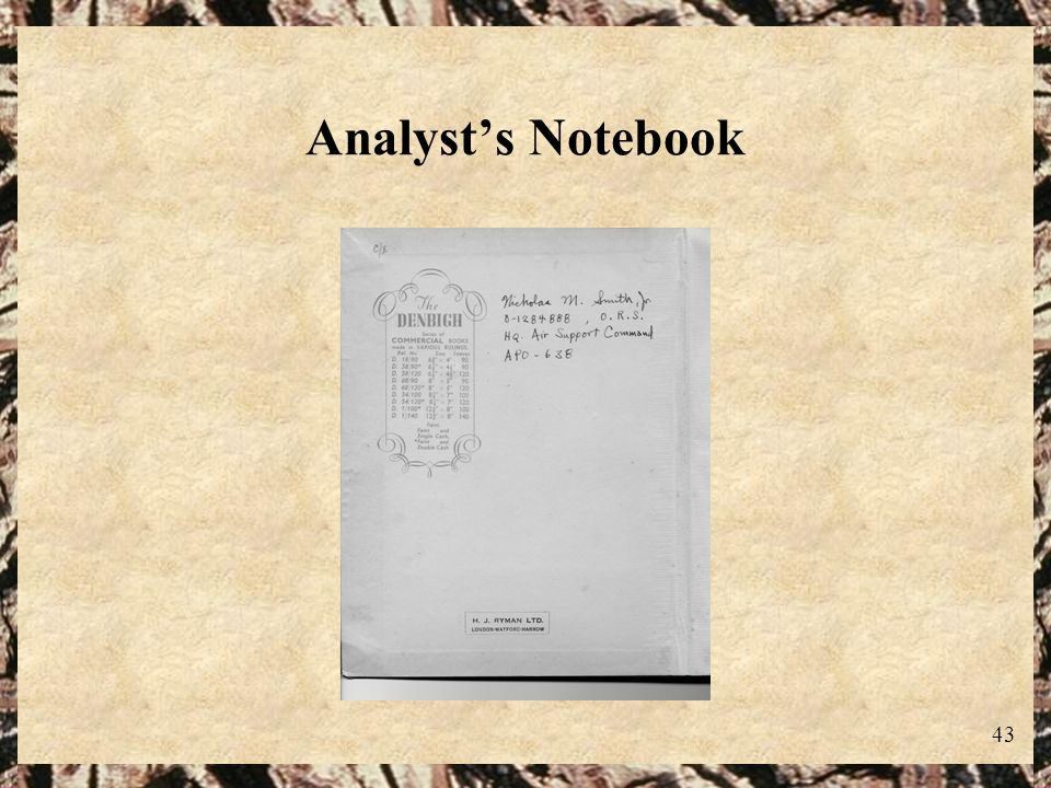 Analyst's Notebook
