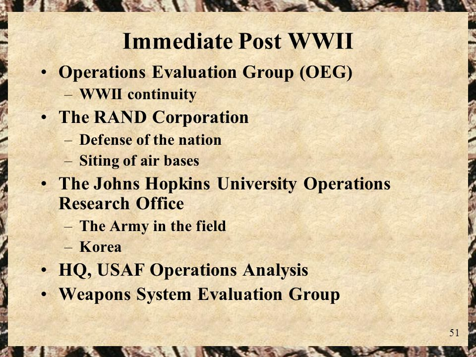 Immediate Post WWII Operations Evaluation Group (OEG)