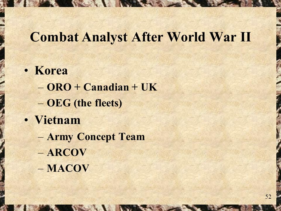 Combat Analyst After World War II