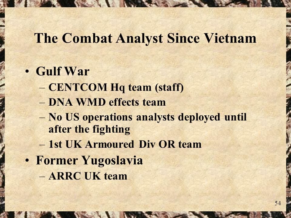 The Combat Analyst Since Vietnam
