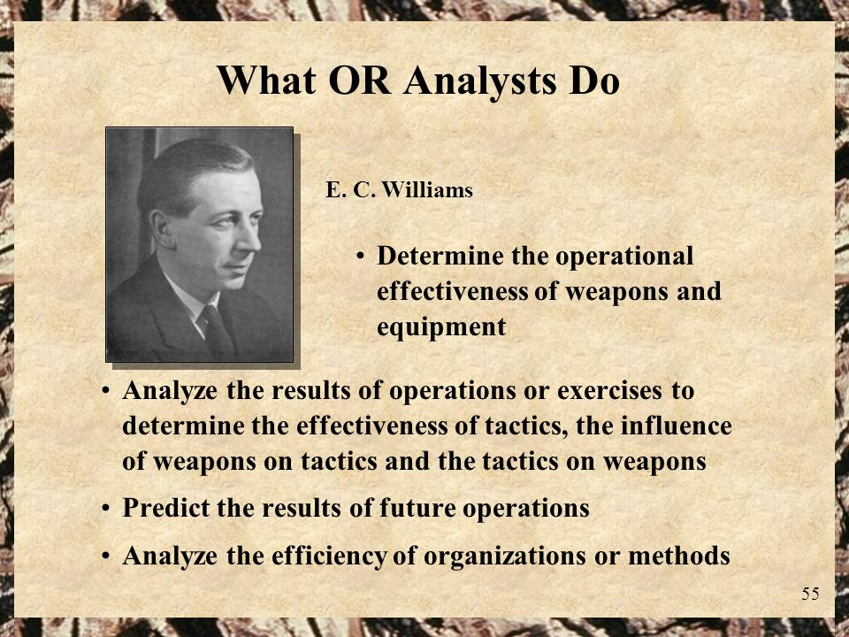What OR Analysts Do E. C. Williams. Determine the operational effectiveness of weapons and equipment.