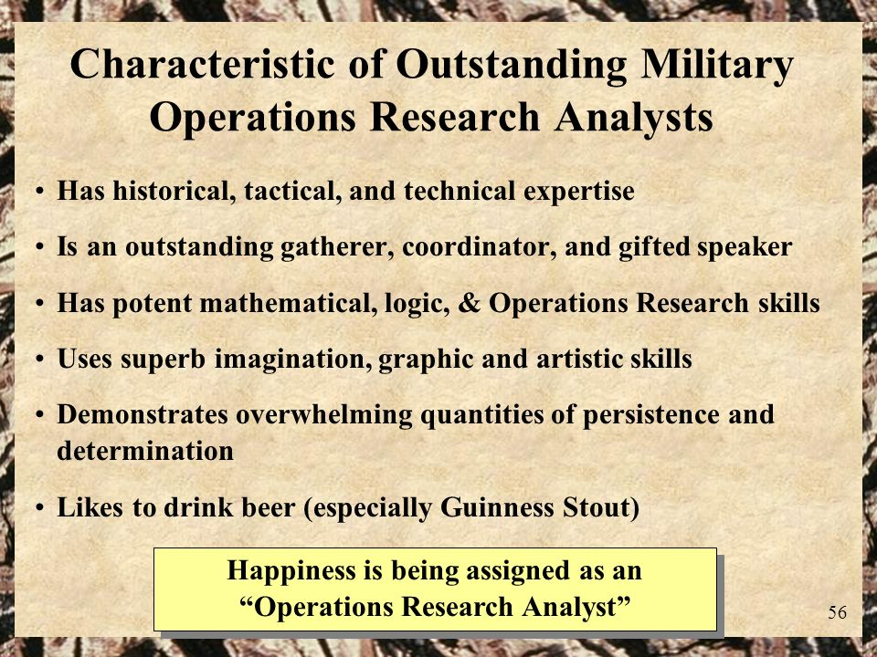 Characteristic of Outstanding Military Operations Research Analysts