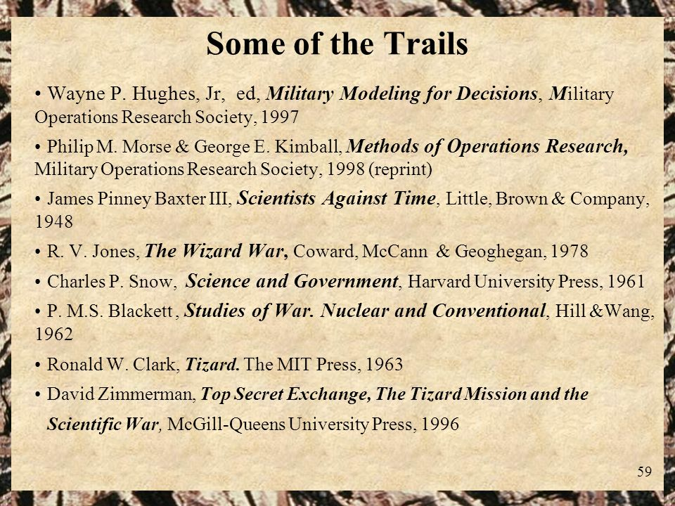 Some of the Trails Wayne P. Hughes, Jr, ed, Military Modeling for Decisions, Military Operations Research Society, 1997.