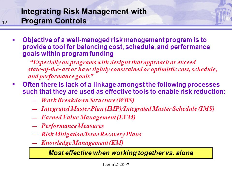 Integrating Risk Management with Program Controls