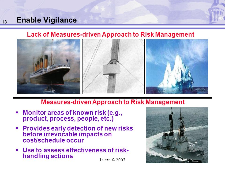 Enable Vigilance Lack of Measures-driven Approach to Risk Management