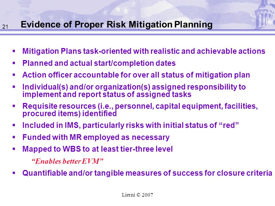 Evidence of Proper Risk Mitigation Planning
