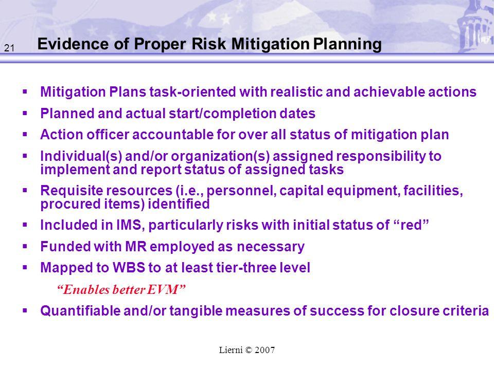 Evidence of Proper Risk Mitigation Planning
