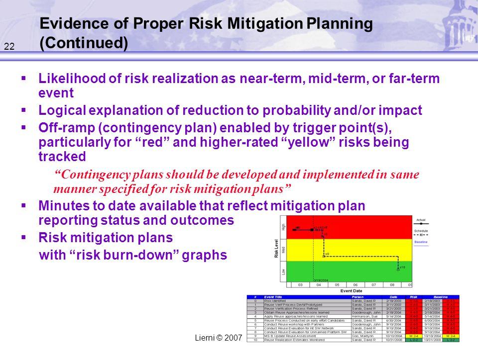 Evidence of Proper Risk Mitigation Planning (Continued)
