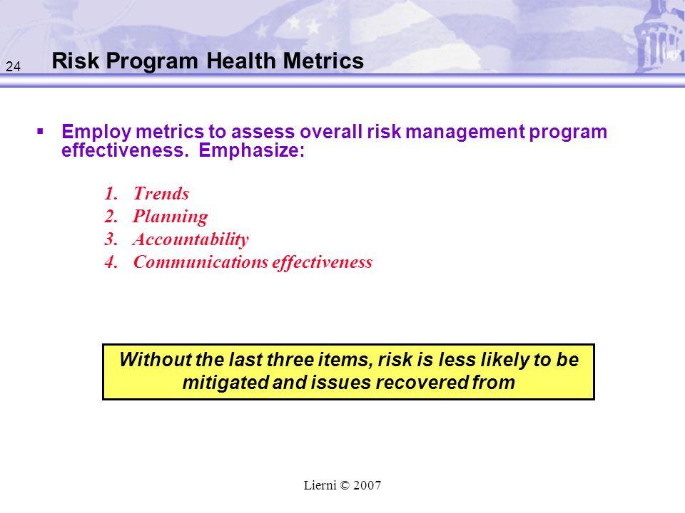 Risk Program Health Metrics