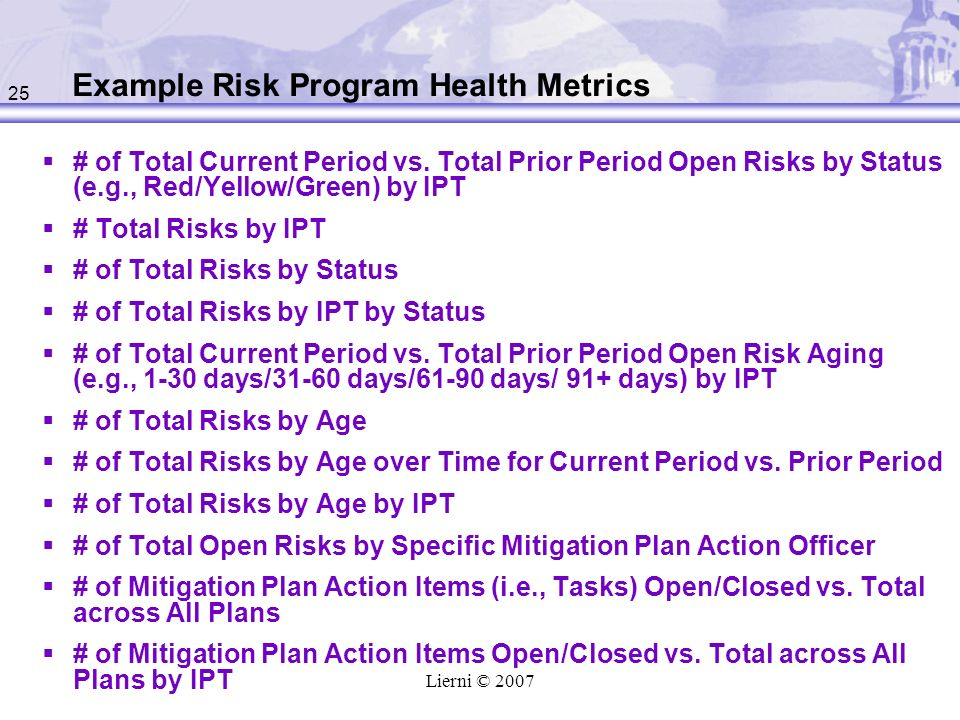 Example Risk Program Health Metrics