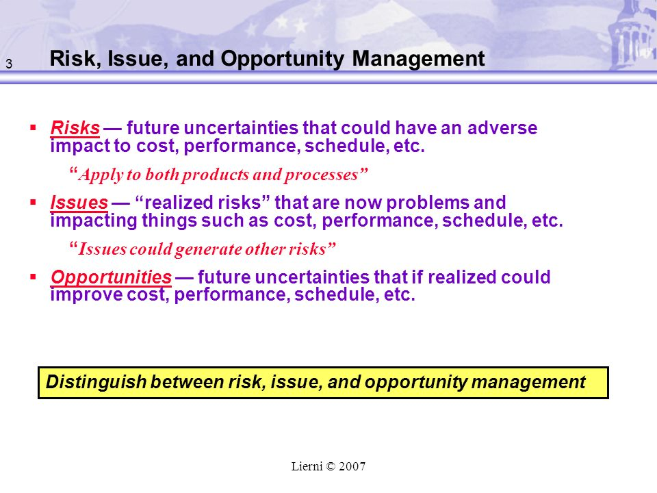 Risk, Issue, and Opportunity Management