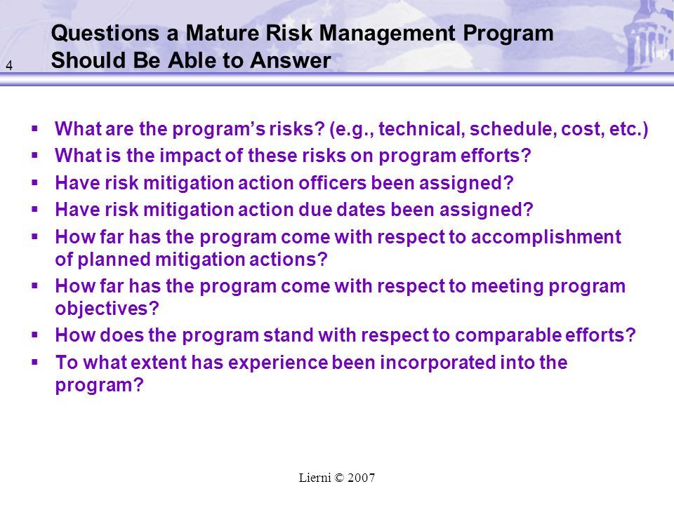 Questions a Mature Risk Management Program Should Be Able to Answer