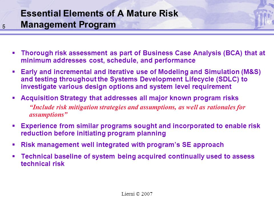Essential Elements of A Mature Risk Management Program