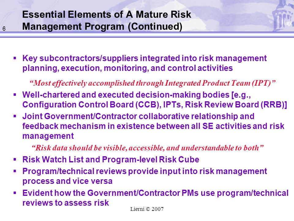 Essential Elements of A Mature Risk Management Program (Continued)