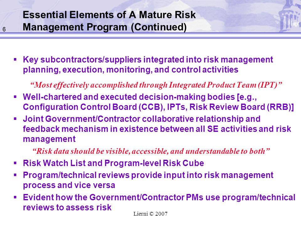 Essential Elements of A Mature Risk Management Program (Continued)