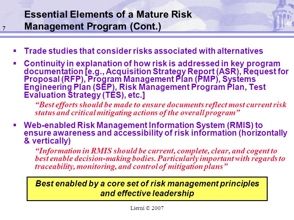 Essential Elements of a Mature Risk Management Program (Cont.)