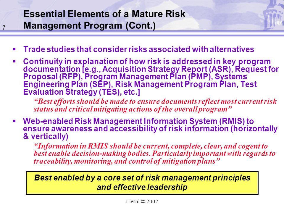Essential Elements of a Mature Risk Management Program (Cont.)