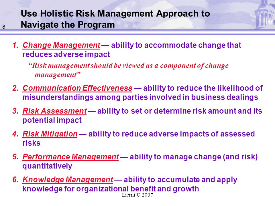 Use Holistic Risk Management Approach to Navigate the Program